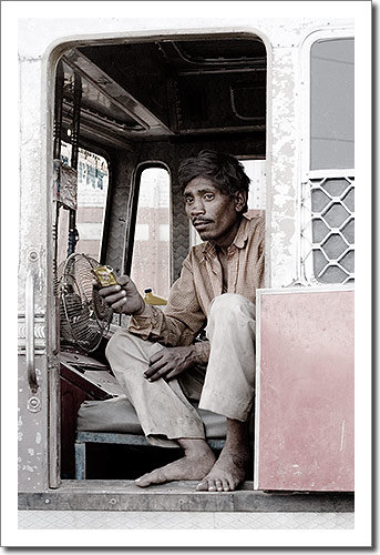Bus Driver Taking a Short Break