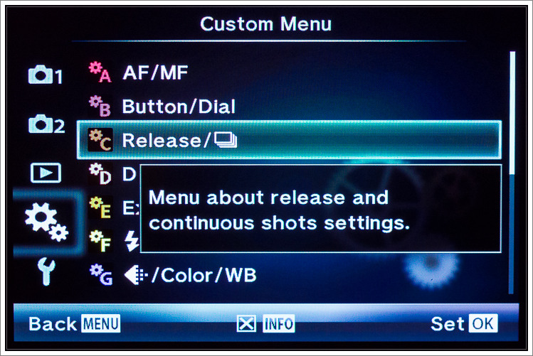 OM-D E-M5 menu system